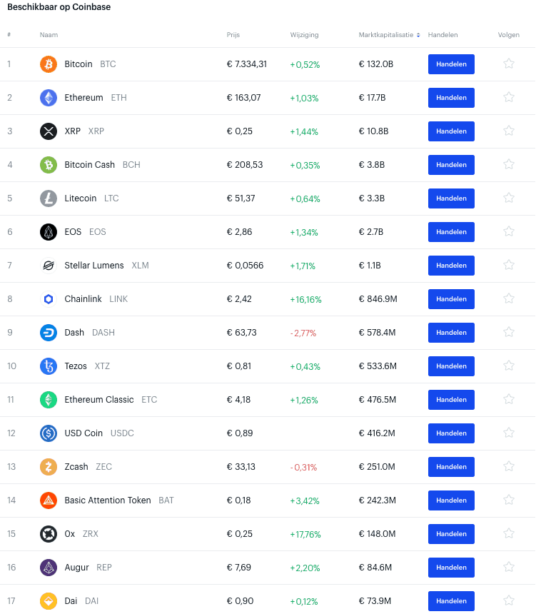 Coinbase interface