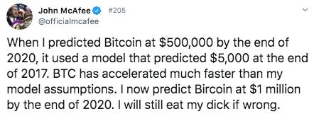 McAfee bitcoin voorspelling tweet