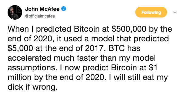 Bitcoin voorspelling McAfee