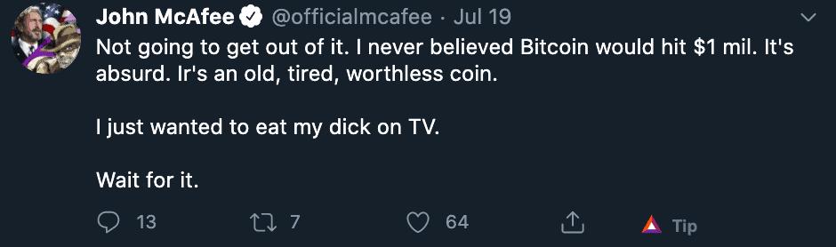 McAfee bitcoin voorspelling