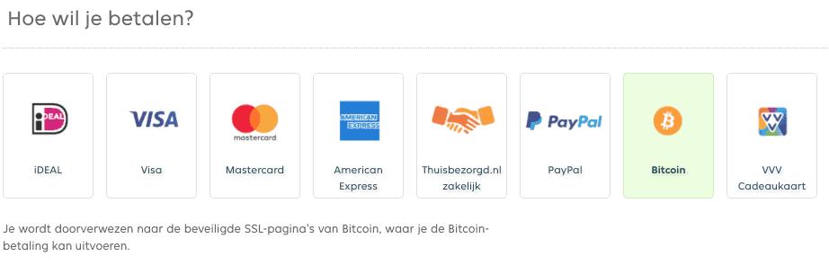 Bitcoin betaalmethode bij Thuisbezorgd