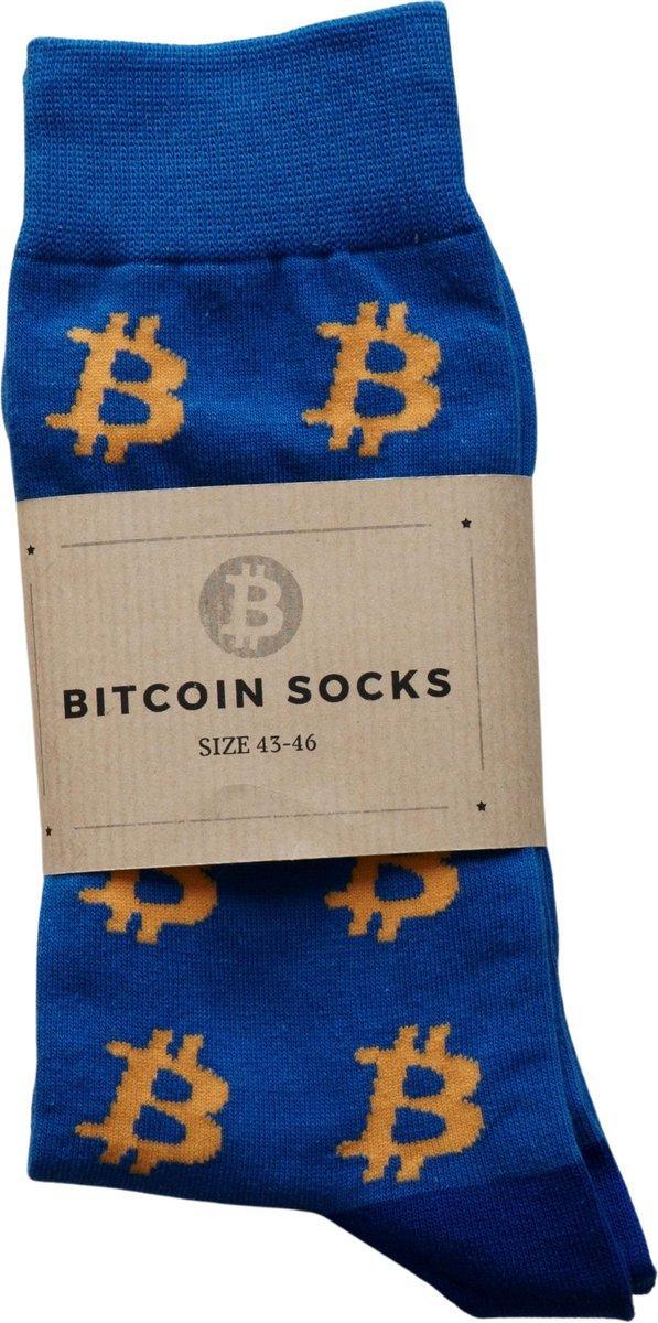 Bitcoin Sokken Blauw Oranje - Crypto Sokken - Heren Sokken - Sokken Blauw - Maat 43 - 46
