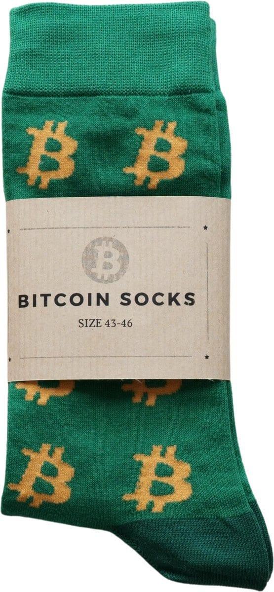 Bitcoin Sokken Groen Oranje - Crypto Sokken - Heren Sokken - Sokken Groen- Maat 43 - 46