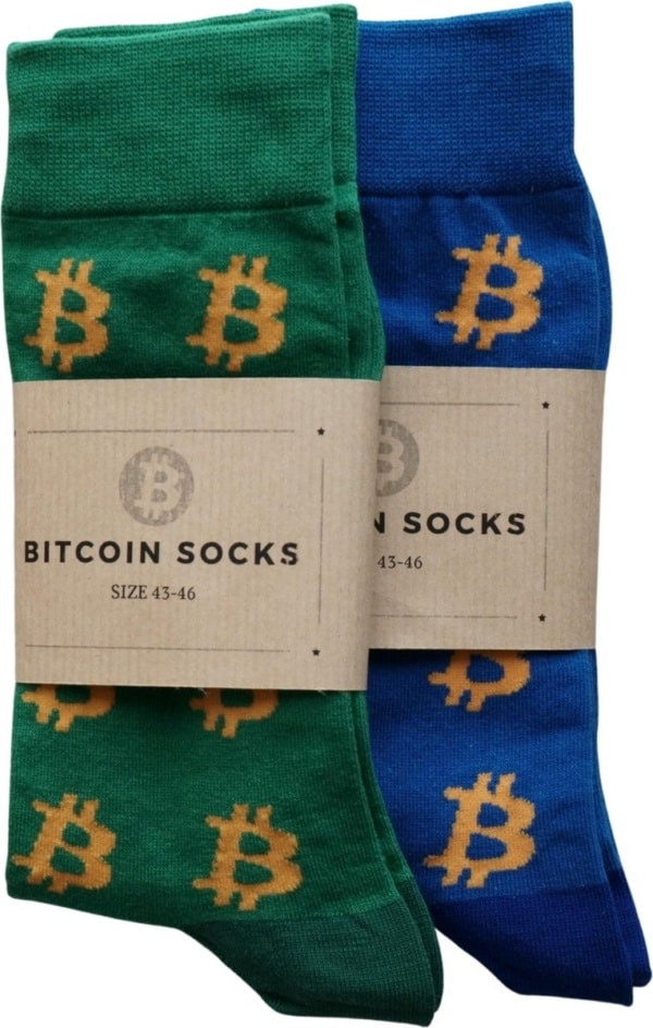 Bitcoin Sokken Set Twee Paar - Crypto Sokken - Heren Sokken - Sokken Groen En Blauw- Maat 43 - 46
