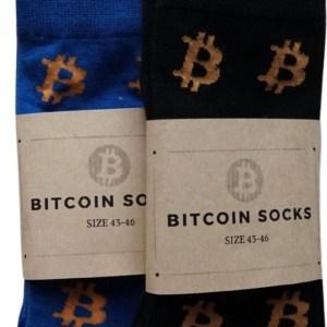Bitcoin Sokken Set Twee Paar - Crypto Sokken - Heren Sokken - Sokken Zwart En Blauw- Maat 43 - 46
