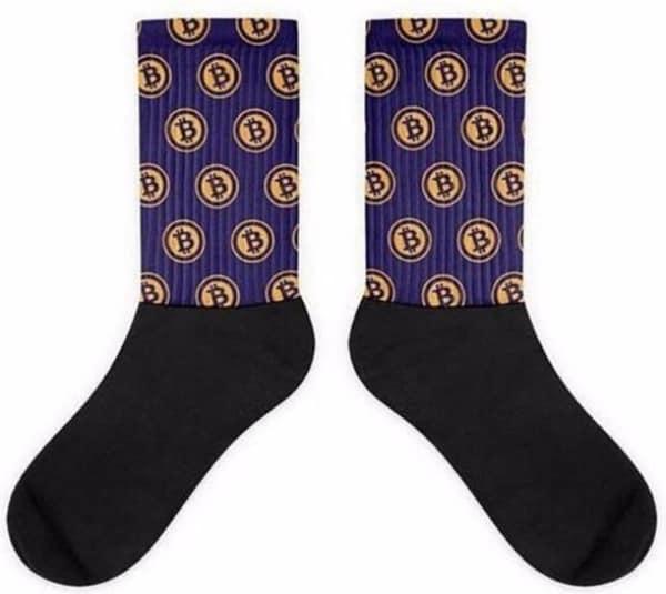 Bitcoin Sokken - Zwart en Paars | Unisex | Maat 35 t/m 44